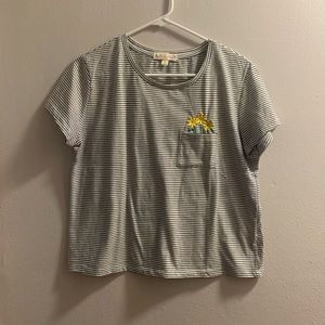 Woman's Striped Tee with Flower Pocket